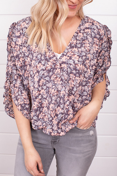 Lovestitch Floral Ruffle Sleeve Top 4