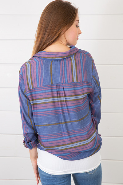 Lovestitch Stripe Tie Front Shirt 3
