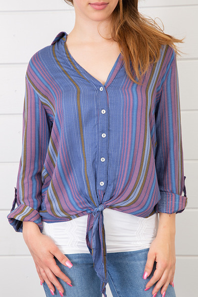 Lovestitch Stripe Tie Front Shirt 2