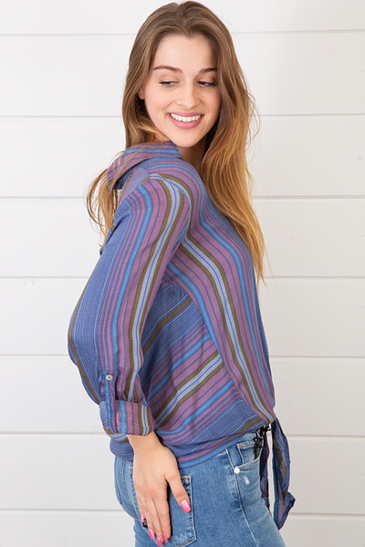 Lovestitch Stripe Tie Front Shirt 4