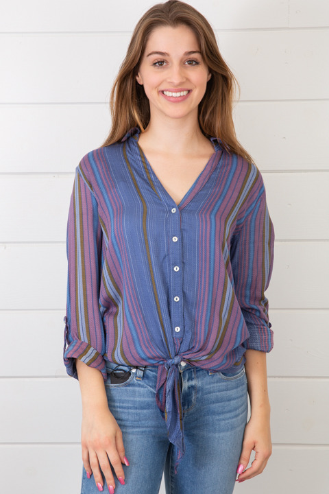 Lovestitch Stripe Tie Front Shirt
