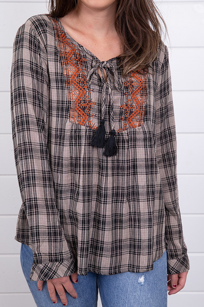Mystree Embroidered Plaid Top 4