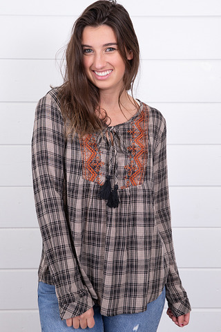 Mystree Embroidered Plaid Top