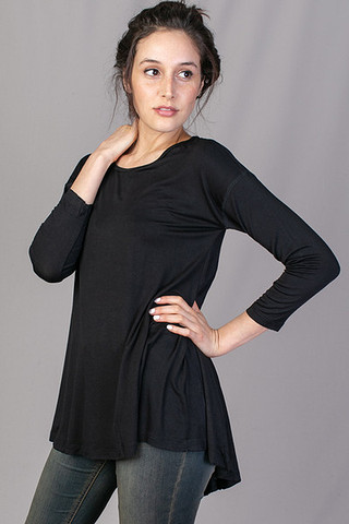 Mystree Long Sleeve Drape Top Black
