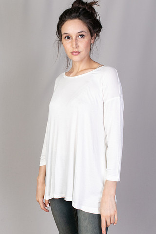 Mystree Long Sleeve Drape Top Off White