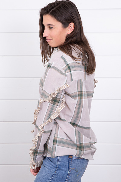 Mystree Plaid Double Ruffle Sleeve 2