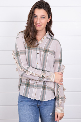Mystree Plaid Double Ruffle Sleeve