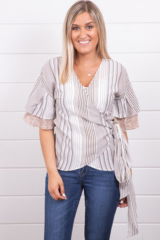 Mystree Ruffle Wrap Blouse