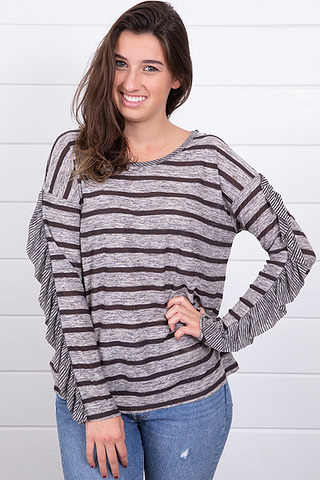 Mystree Striped Boxy Top