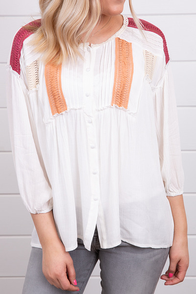 Mystree Trimmed Peasant Top 2