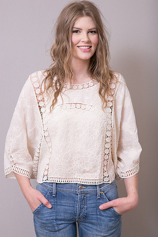 Oddi Crochet Cream Poncho