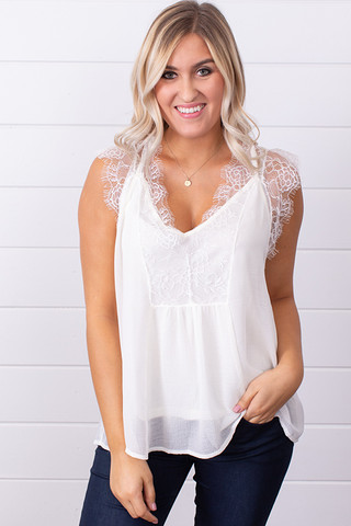 Lovestitch Off White Chiffon Lace Tank