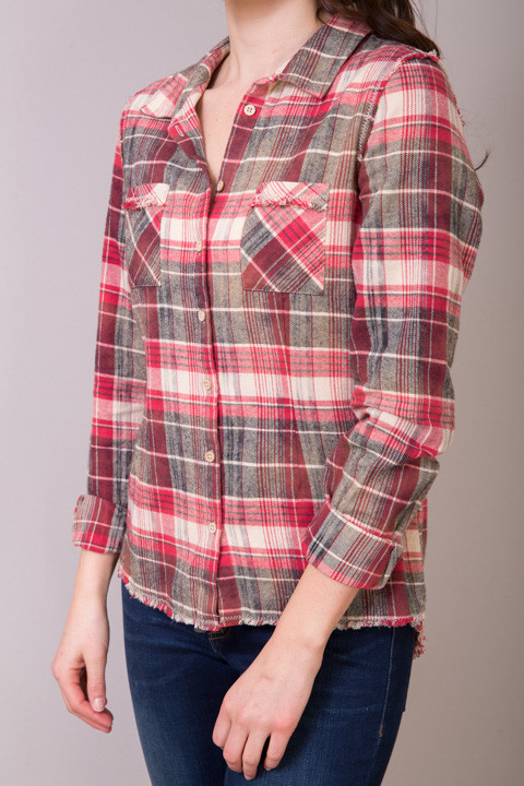 canyon flannel shirt blouse white crow