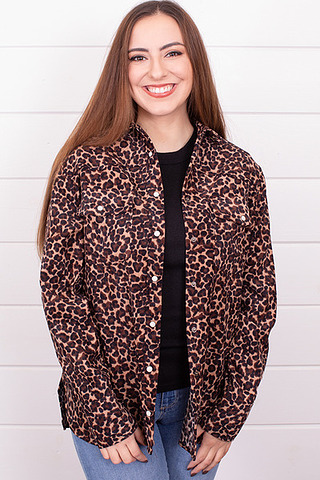 Leopard Button Down