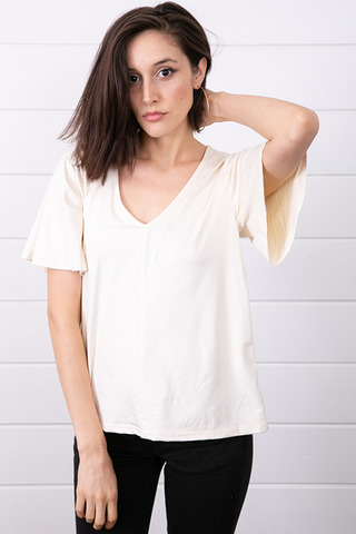 Z Supply The Suede Flutter Tee Ivory