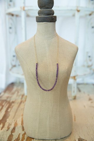 London Manori Amethyst Beaded Stone Necklace