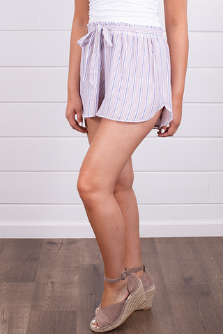 Hem and Thread Lavender Stripe Shorts