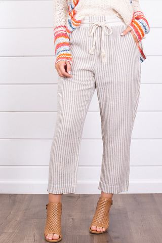 Hem and Thread Stripe Pants