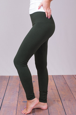 M. Rena Deep Olive Tummy Tuck High Waisted Legging
