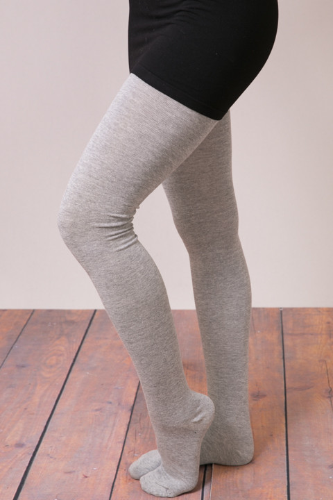MeMoi Sweater Flat Knit Tights Grey