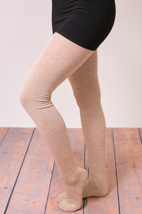 MeMoi Sweater Flat Knit Tights Taupe
