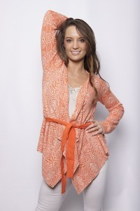Orange Egotrip Short Wrap Cardigan