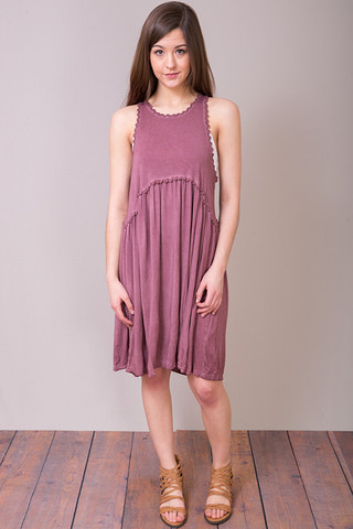 POL Burgundy Racer Back Dress