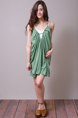 Blue Life Shirring Criss Cross Dress Jade