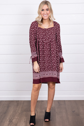 Mystree Burgundy Smocked Dress