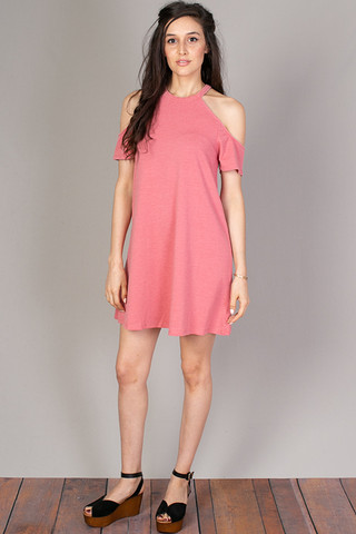 Z Supply Short Sleeve Cold Shoulder Dress Baroque Rose
