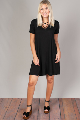 Z Supply The Cross Front Tee Dress Black