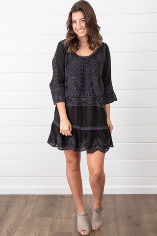 Johnny Was Collection Dotted Geo Tunic Dress