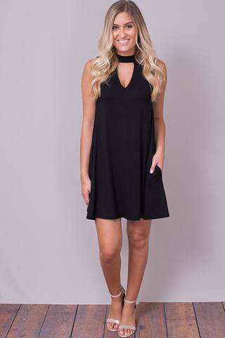 Elan International Flare Black Dress