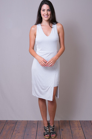 Keyhole Slit Midi Dress