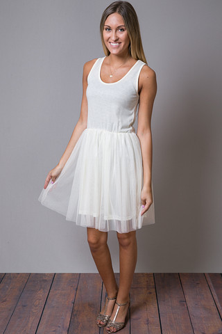 O2 Collection Ivory Tank Tulle Slip