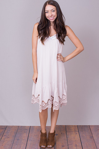 Lace Hem Shift Dress