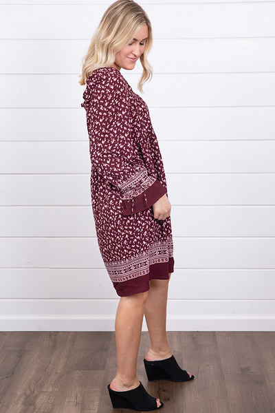 Mystree Burgundy Smocked Dress 3
