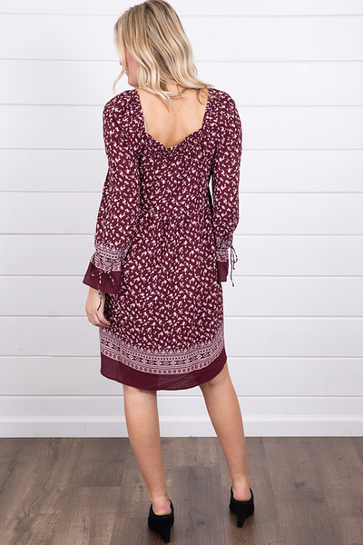 Mystree Burgundy Smocked Dress 4