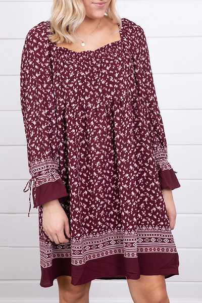 Mystree Burgundy Smocked Dress 2