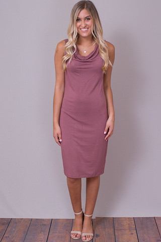 Mystree Mauve Cowl Dress