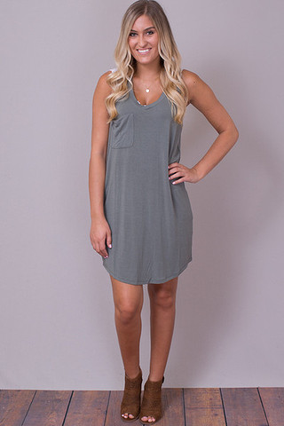 Z Supply The Pocket Racer Tank Dress Ash Green