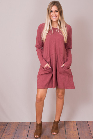 Easel Red Bean Oversized Pocket Tunic