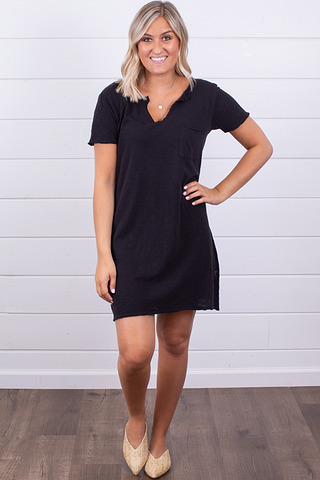 Z Supply The Paige T-Shirt Dress Black