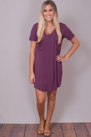 Z Supply The Pocket Tee Dress Wine