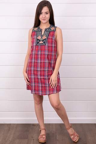 THML Sleeveless Plaid Dress