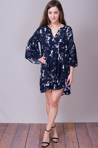 Umgee Navy Floral Dress