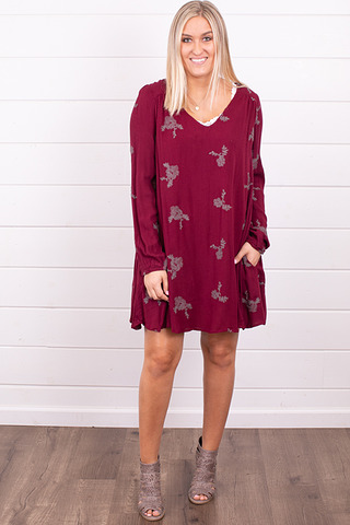 Wishlist Apparel Long Sleeve Burgundy Dress