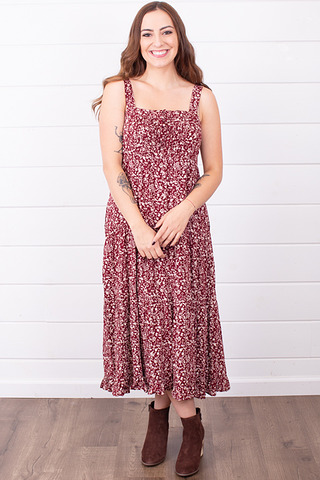 Wishlist Apparel Wine Floral Midi