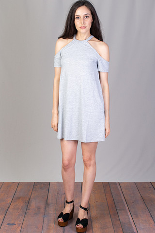Z Supply Short Sleeve Cold Shoulder Dress Heather Grey