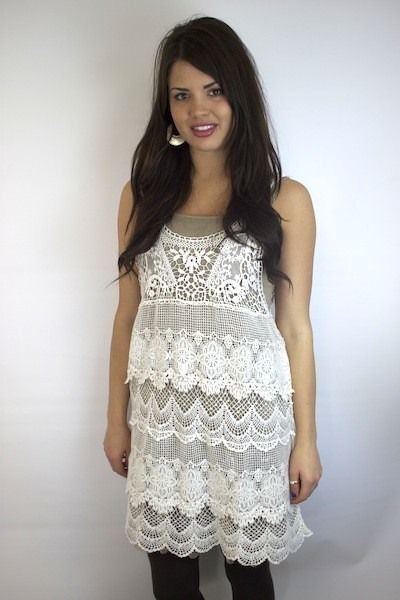 Mystree Crochet Dress with Lace
